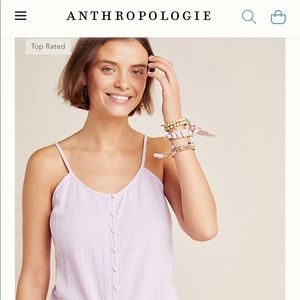 ANTHROPOLOGIE Lavender front button tank top